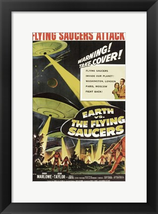 Framed Earth Vs the Flying Saucers Marlowe Print