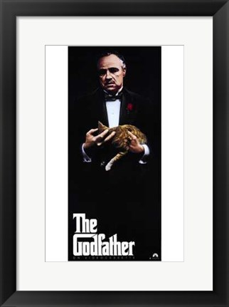 Framed Godfather with Cat Print