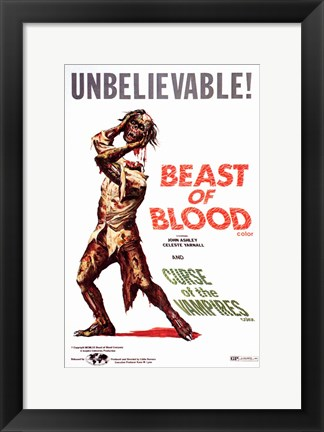 Framed Beast of Blood-Curse of the Vampires Print