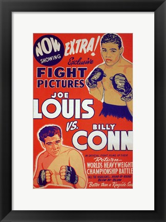 Framed Joe Louis Vs Billy Conn Print