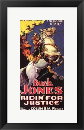 Framed Ridin' for Justice Buck Jones Print