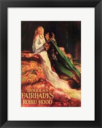 Framed Robin Hood Douglas Fairbanks and Maid Mariam Print
