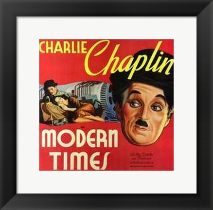Framed Modern Times Charlie Chaplin Close Up Print