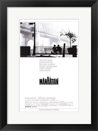 Framed Manhattan - couple on a bench Print