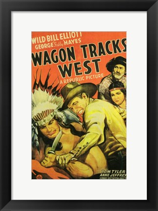 Framed Wagon Tracks West Print