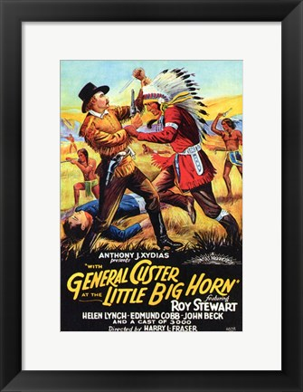 Framed with General Custer At Little Big Horn Print