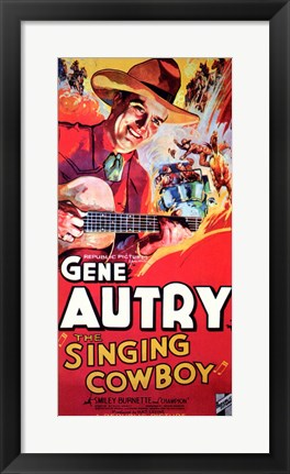 Framed Singing Cowboy Print