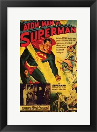 Framed Atom Man Vs Superman Superman Crashes Through Print