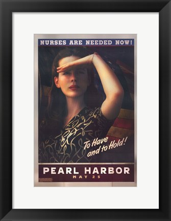 Framed Pearl Harbor Art Deco Nurses Are Needed Now Print
