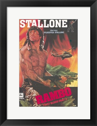 Framed Rambo: First Blood Part 2 Sylvester Stallone Print