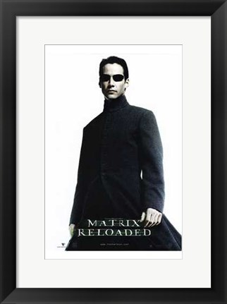 Framed Matrix Reloaded Keanu Reeves as Neo Print