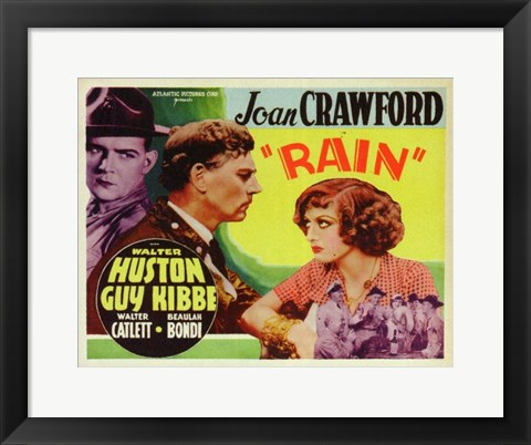 Framed Rain With Huston And Crawford Print
