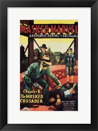 Framed Masked Marvel - man laying Print