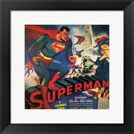 Framed Superman Vintage Comic Book Print