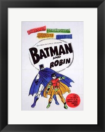 Framed Batman and Robin Colorful Vintage Print