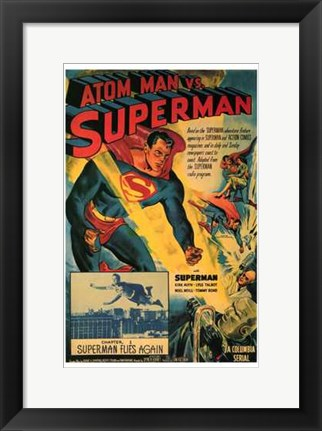 Framed Atom Man Vs Superman Superman Flies Again Print