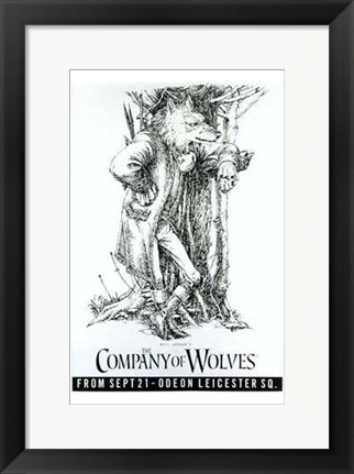 Framed Company of Wolves - Black and White Print