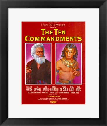 Framed Ten Commandments Moses and Pharoah Print
