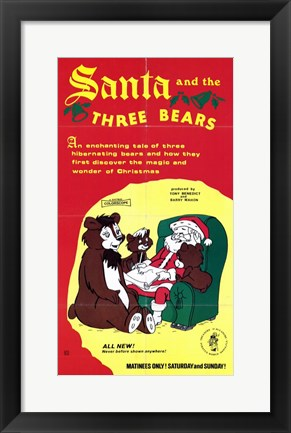 Framed Santa and the 3 Bears Print