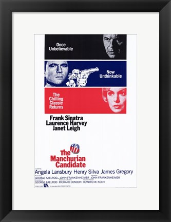 Framed Manchurian Candidate Frank Sinatra Laurence Harvey Janet Leigh Print