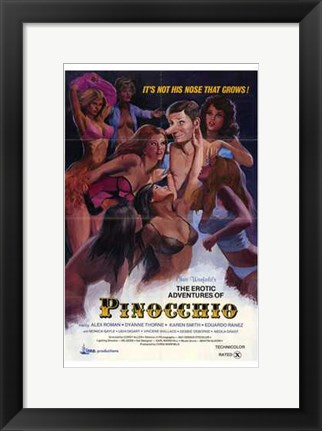 Framed Erotic Adventures of Pinocchio Print