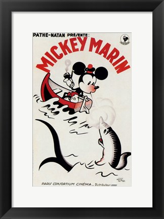 Framed Mickey Mouse on a boat Print