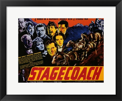 Framed Stagecoach 2 Women 7 Strange Men Print