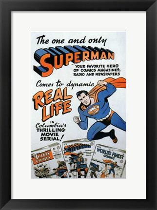 Framed Superman Comic to Movie Print