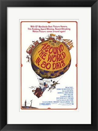 Framed Around the World in 80 Days Hot Air Balloon Print