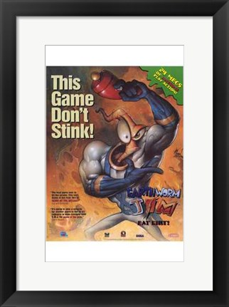 Framed Video Game - Earthworm Jim Print
