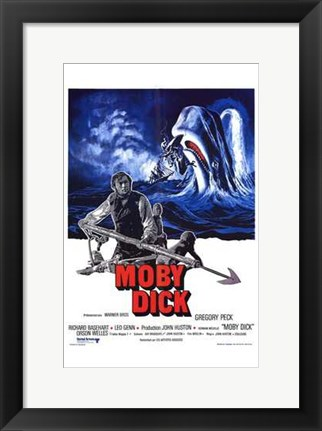 Framed Moby Dick - whale in the background Print