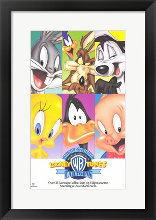 Framed Warner Brothers Looney Tunes Cartoon Characters Print