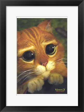 Framed Shrek 2 Puss in Boots Print