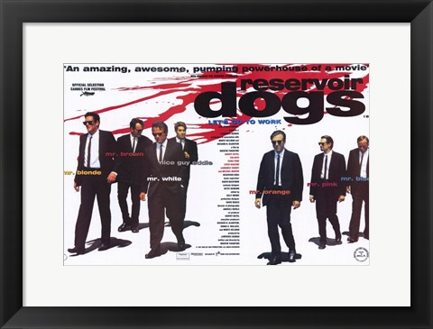 Framed Reservoir Dogs Cast with Blood Splatter Print
