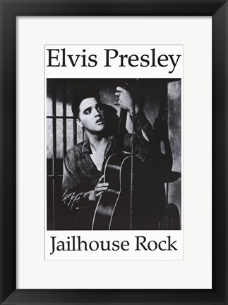 Framed Jailhouse Rock Black & White Elvis Print