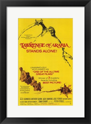 Framed Lawrence of Arabia Yellow Print