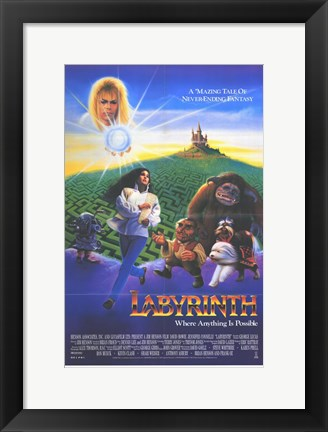 Framed Labyrinth - creatures Print