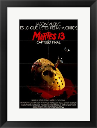 Framed Friday the 13Th Part 4 Spanish Print