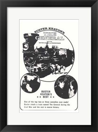 Framed General Black White Train Print