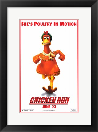 Framed Chicken Run - She's poultry in motion Print