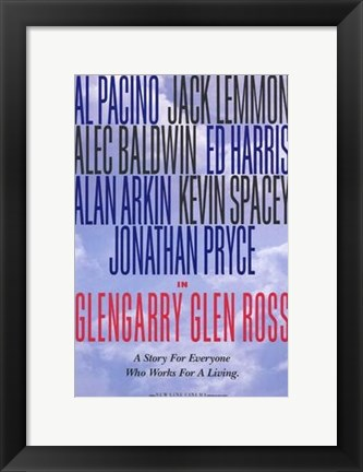 Framed Glengarry Glen Ross - character names Print