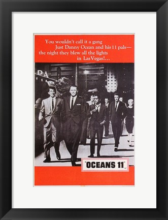 Framed Oceans 11 Black and White with Red Print