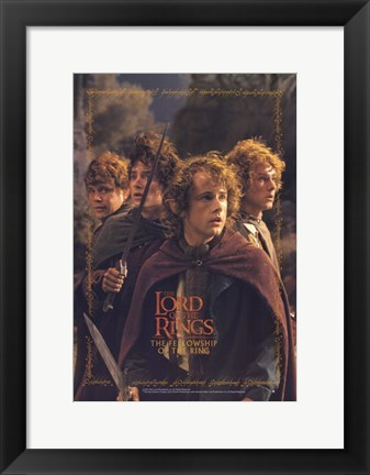 Framed Lord of the Rings: Fellowship of the Ring Hobbits Print