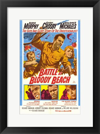Framed Battle At Bloody Beach Print