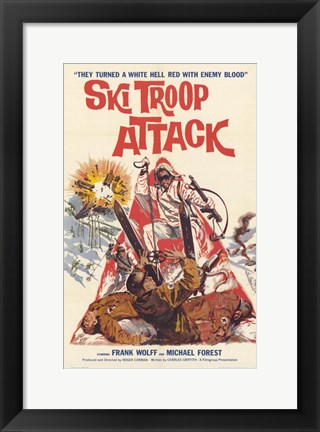 Framed Ski Troop Attack Print
