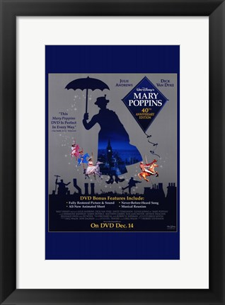 Framed Mary Poppins Cast DVD Print