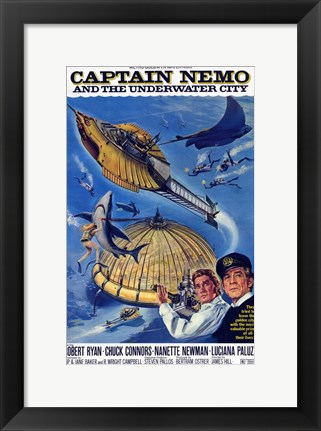Framed Captain Nemo and the Underwater City Print