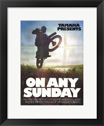 Framed on Any Sunday - Bike rider in a field Print