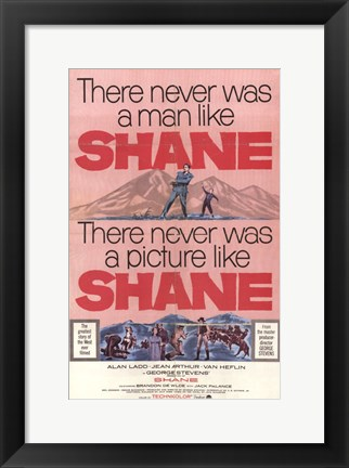 Framed Shane There Never Was a Man Like Print
