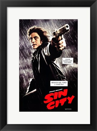 Framed Sin City Benicio del Toro as Jackie Boy Print